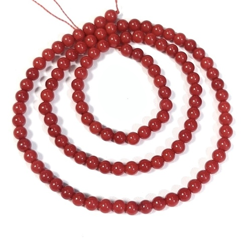 Бусины коралл красный шар 6 мм