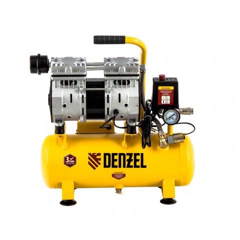 Компрессор DLS650/10 безмасляный малошумный 650 Вт, 120 л/мин, ресивер 10 л Denzel