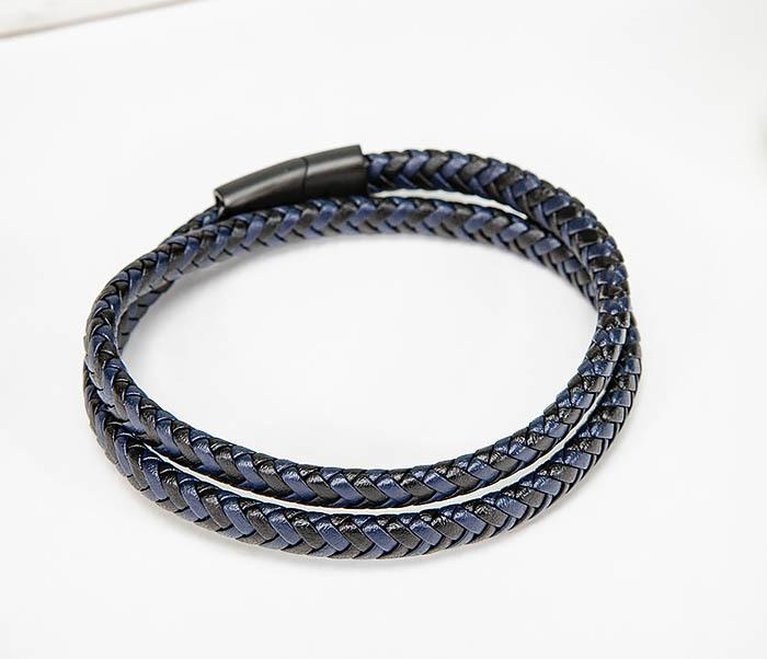 BM573 Двойной мужской браслет шнур из кожи фото 02