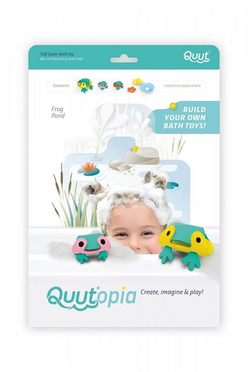 Мягкий 3D конструктор для игры в ванне Quutopia (9 эл). Пруд с лягушками (Frog Pond).