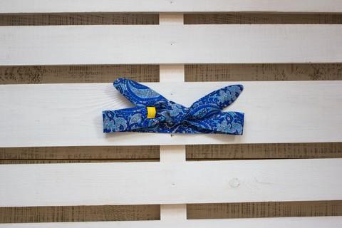 Повязка на голову (солоха) синяя с голубыми пейсли