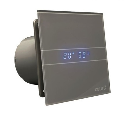 Накладной вентилятор Cata E 100 GSTH Silver (Влажность, таймер, термометр, дисплей)