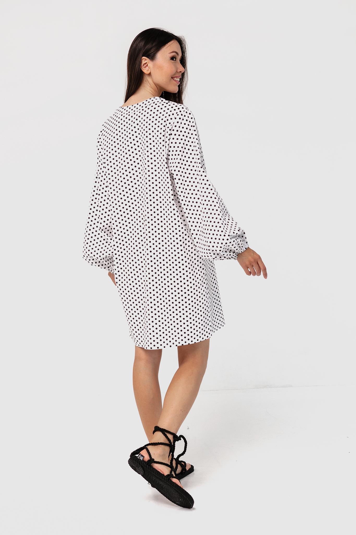 Платье-рубашка хлопковое с объемными рукавами в горошек YOS от украинского бренда Your Own Style