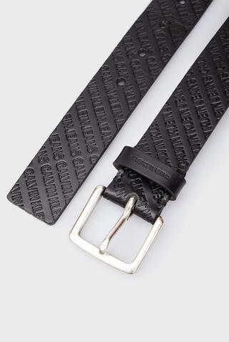 Мужской черный кожаный ремень CKJ CLASSIC ALLOVER EMBOSS Calvin Klein