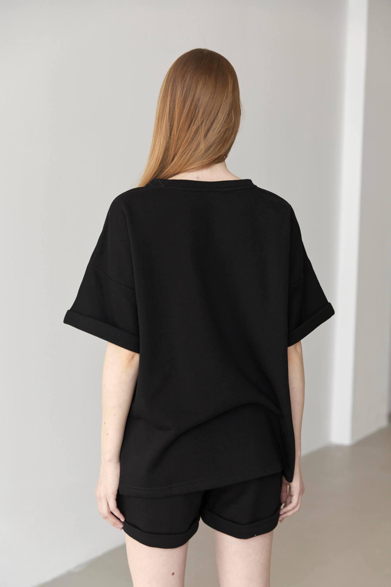 Свитшот-футболка из футера, черный