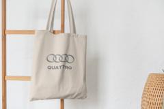 Сумка-шоппер с принтом Ауди Кватро (Audi Quattro) бежевая 007