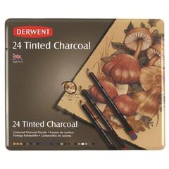 Набор из 24 угольных карандашей Derwent Tinted Charcoal