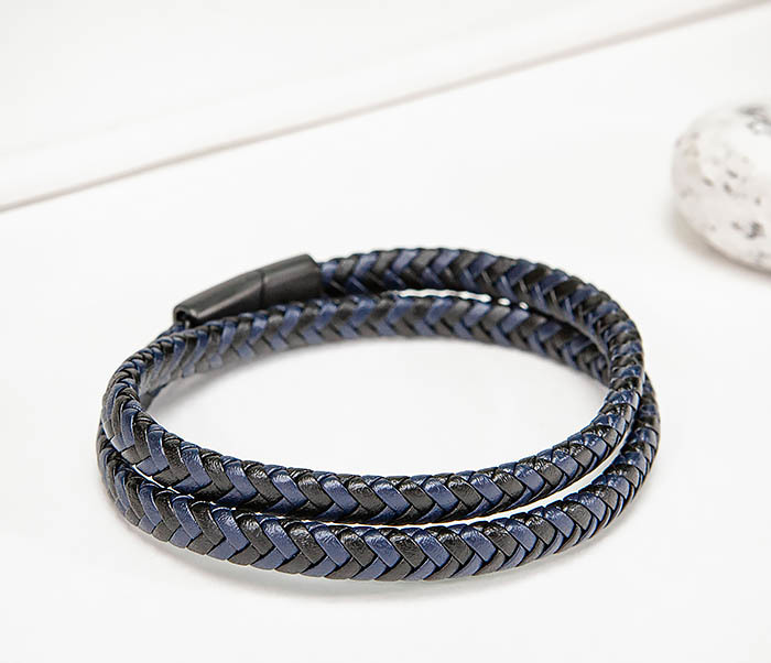 BM573 Двойной мужской браслет шнур из кожи фото 03