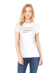 Футболка с принтом Ауди R (Audi R) белая w0016
