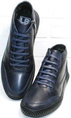 Кожаные ботинки на шнуровке осень зима мужские Luciano Bellini BC2802 L Blue.