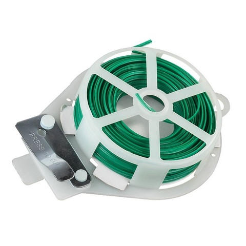 Проволока подвязочная плоская, RACO 42359-53633C, с покрытием ПВХ и диспенсером, в пластиковой обойме, 30м