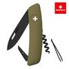 Швейцарский нож SWIZA D01 AllBlack, 95 мм, 6 функций, темно-зеленый (подар. упак.)