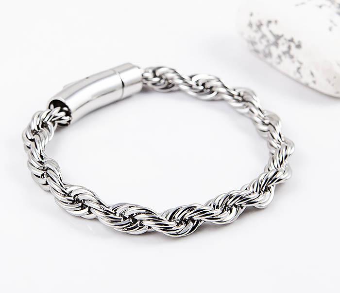 BM550 Крученый браслет серебристого цвета из стали