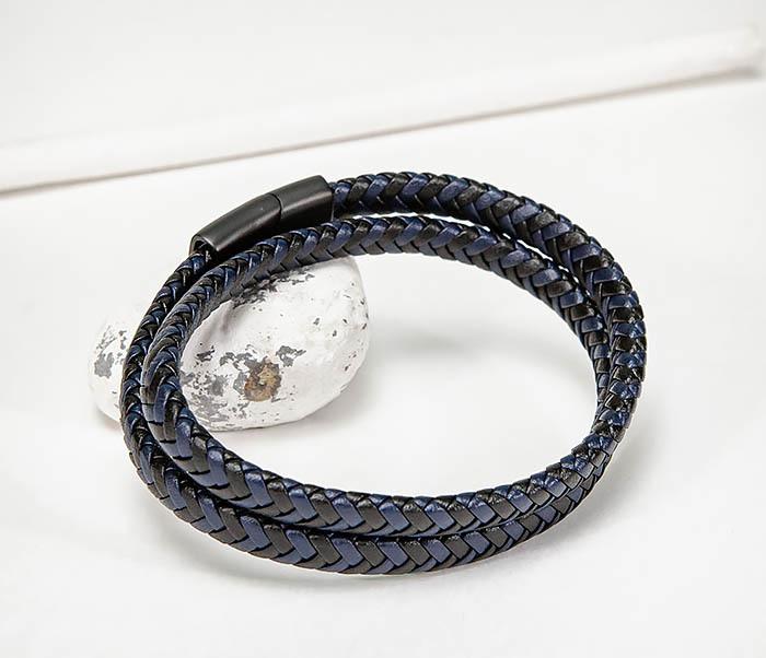 BM573 Двойной мужской браслет шнур из кожи фото 05