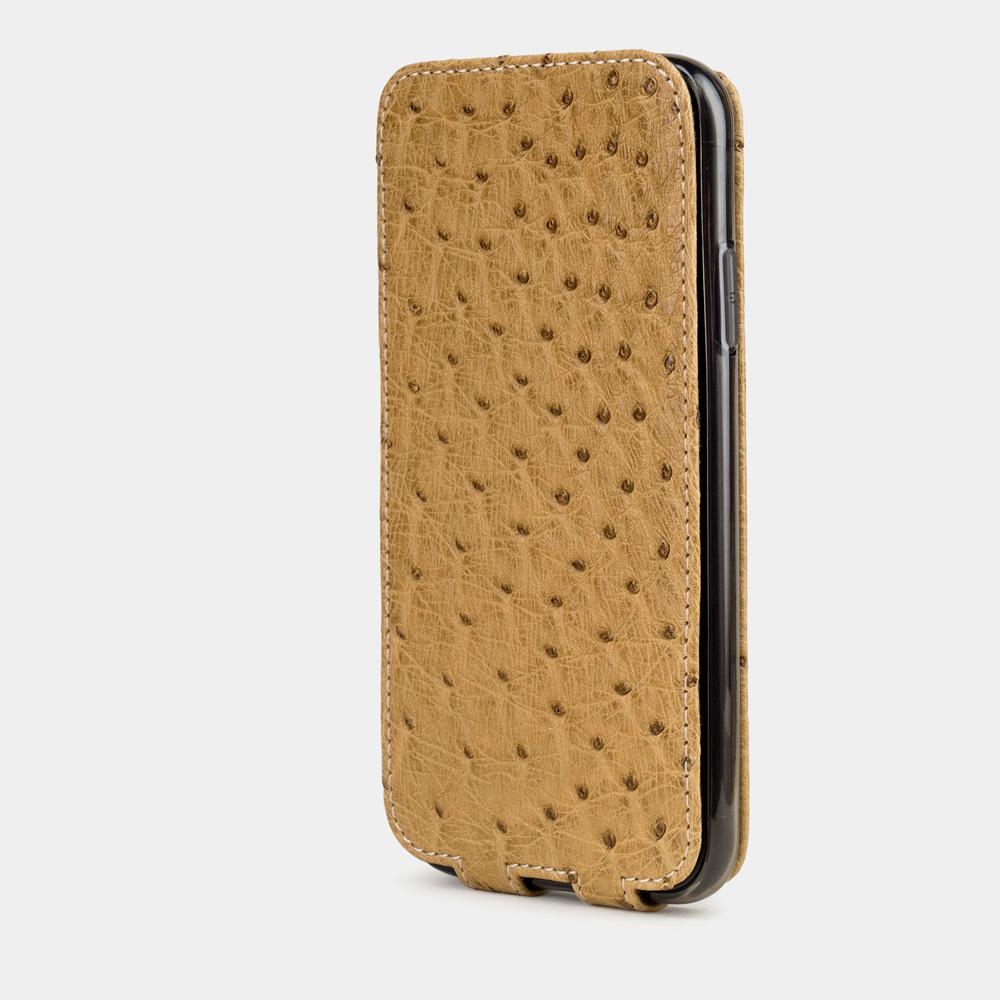 Чехол для iPhone 11 из натуральной кожи страуса, бежевого цвета
