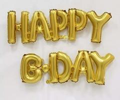 К Надпись золотая Happy Birthday, 14