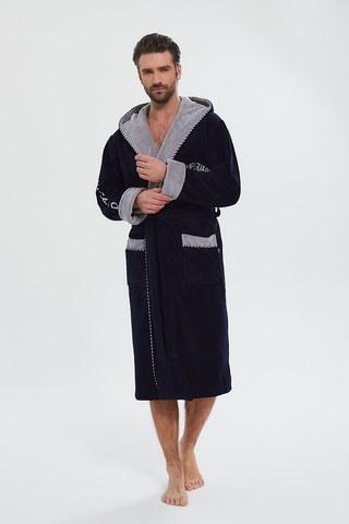 Мужской махровый халат из бамбука Lifeguard 949 синий PECHE MONNAIE