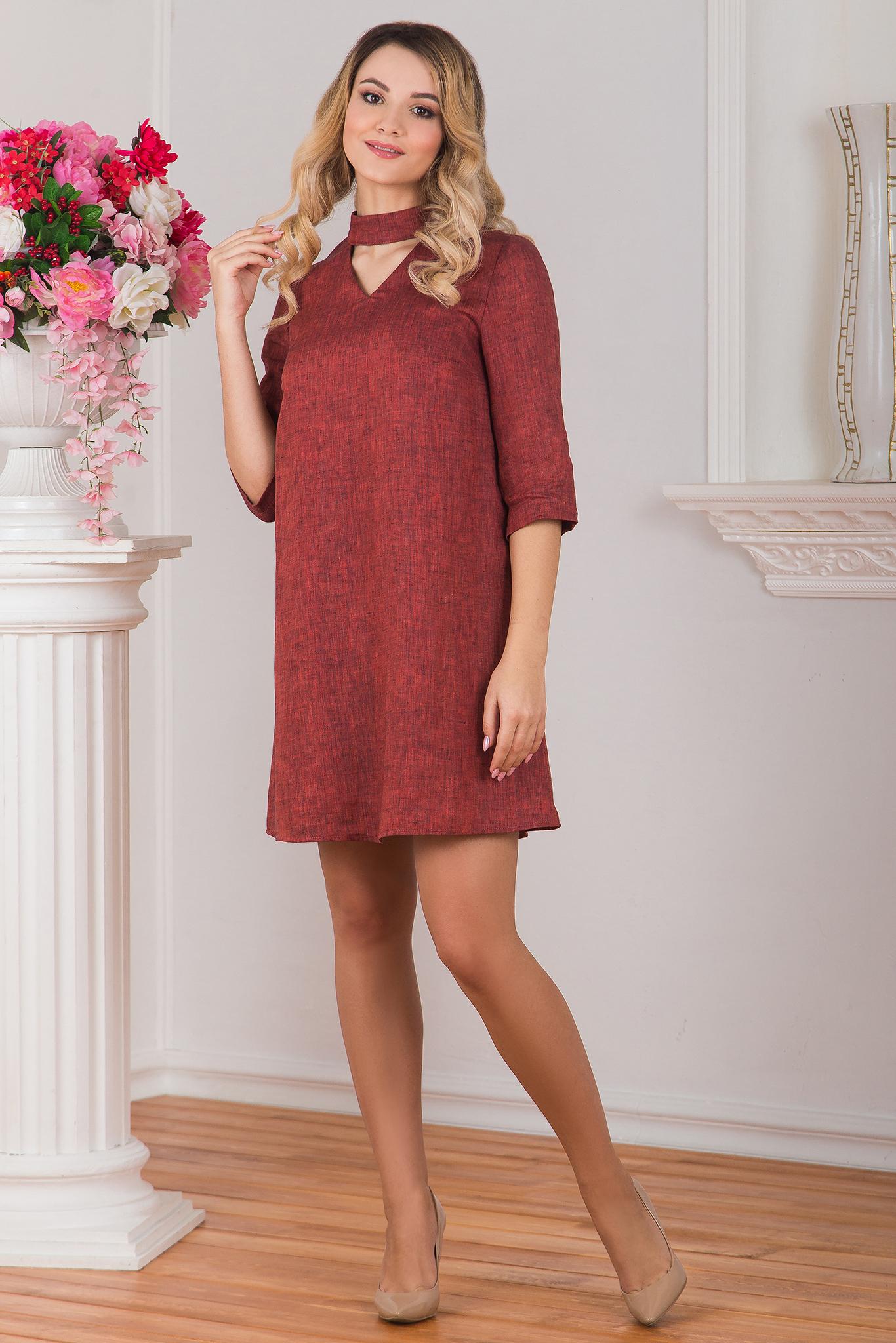 Платье льняное Красный меланж
