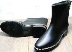 Красивые резиновые сапоги женские низкие Hello Rain Story 1019 Black.