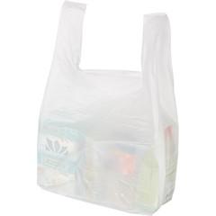Пакет-майка ПНД белый 15 мкм (38+20х68 см, 100 штук в упаковке)