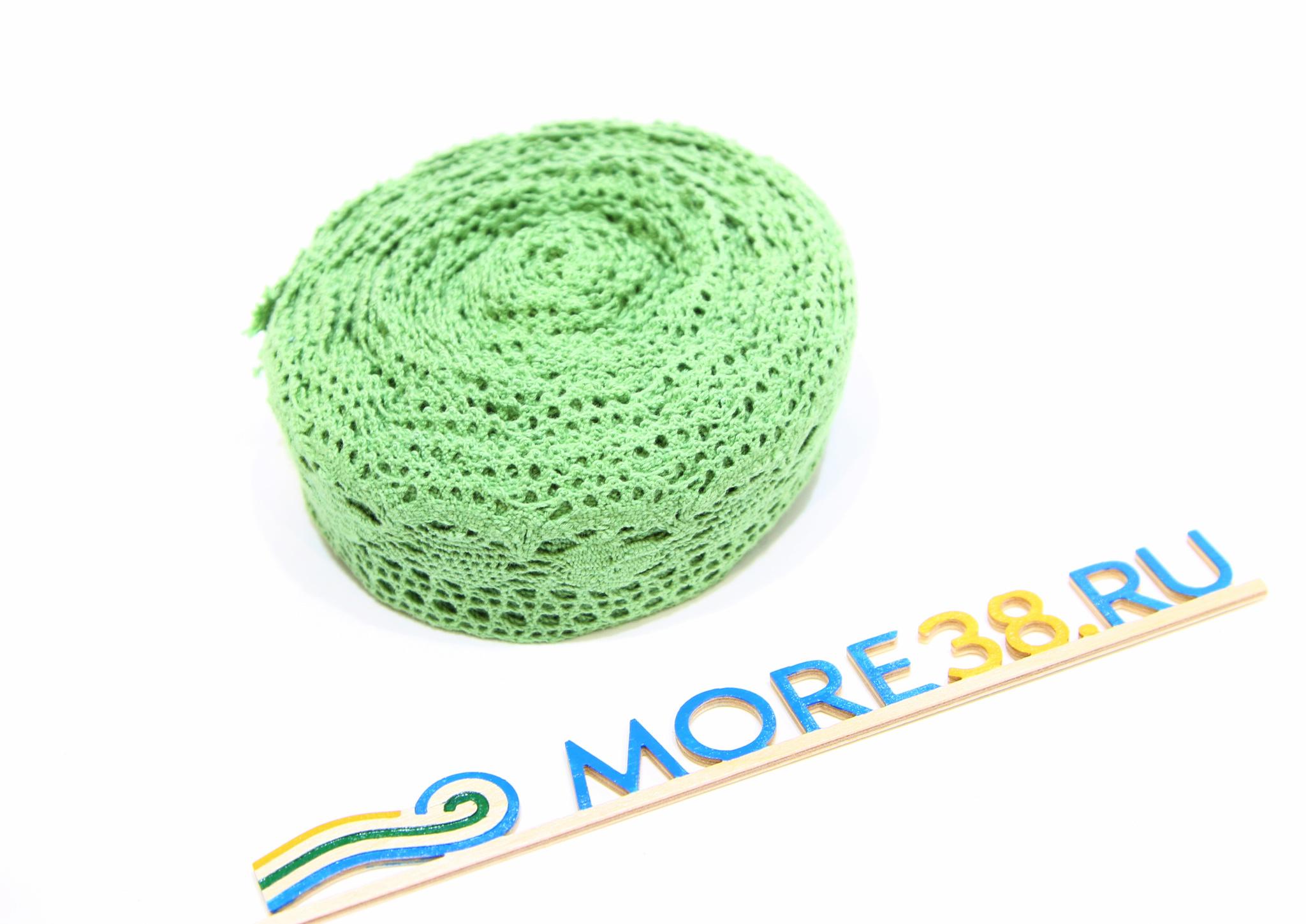 Лента плетение зеленая