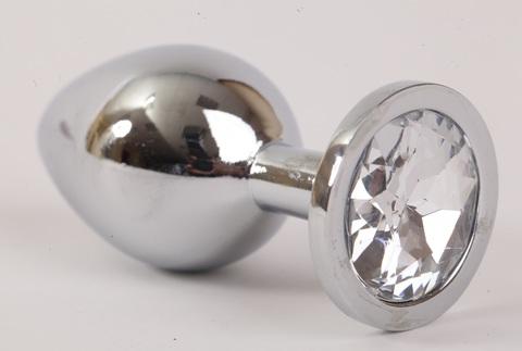 Анальная пробка серебрянная с прозрачным кристаллом M 3,4х8,2 47064-1-MM