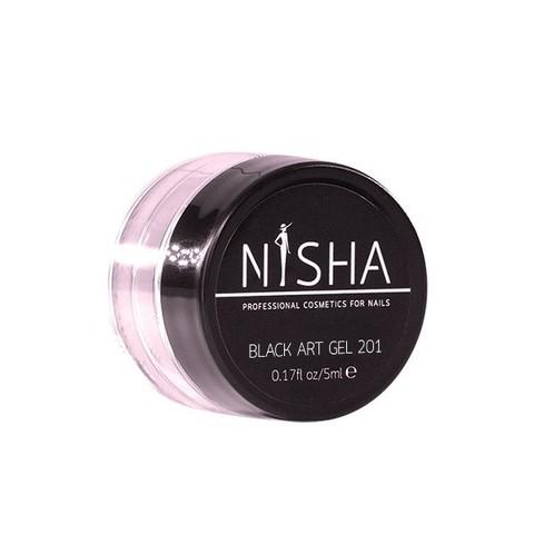 Гель-краска с липким слоем Nisha Black Art Gel 5ml 201