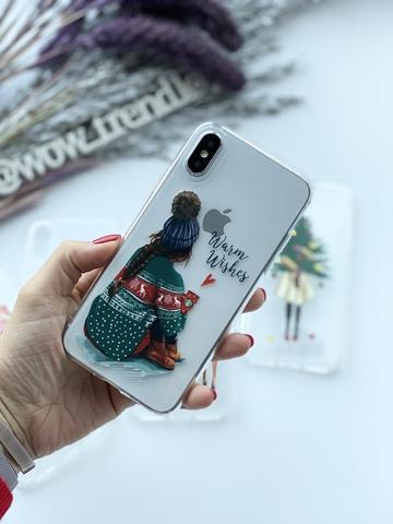 Чехол силиконовый прозрачный iPhone XS Max /warm wishes/