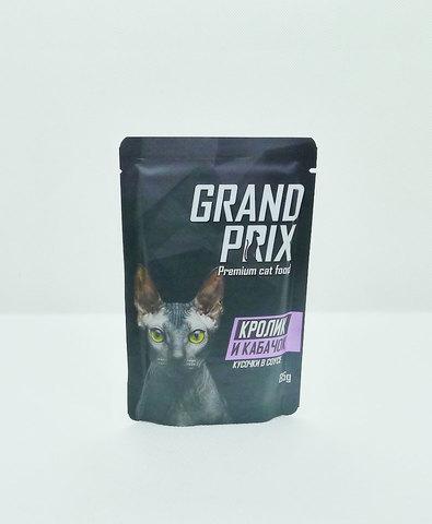 Grand Prix пауч для кошек кусочки в соусе (кролик и кабачок) 85г