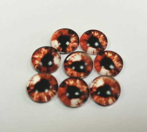 Глазки стеклянные,  8мм, темно-оранжевые 1уп-8шт. (1125)