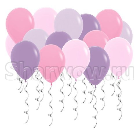 Воздушные шары под потолок Розовый и сиреневый с оттенками