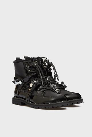 Женские черные кожаные ботинки Bosona PRPY