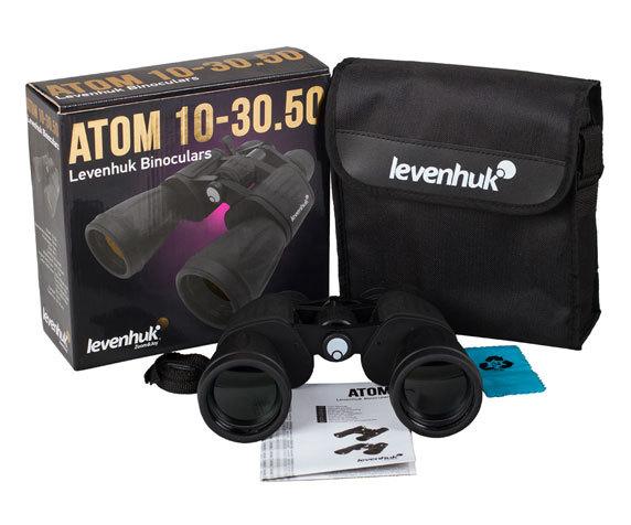 Комплект поставки бинокля с переменной кратностью Levenhuk Atom 10 30 50