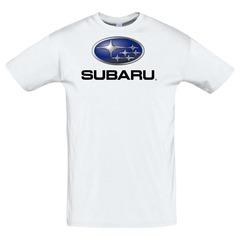 Футболка с принтом Субару (Subaru) белая 3
