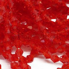 Купить бусины биконусы оптом в Краснодаре Light Siam красные
