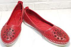 Легкие женские мокасины балетки из мягкой кожи Rozen 212 Red.