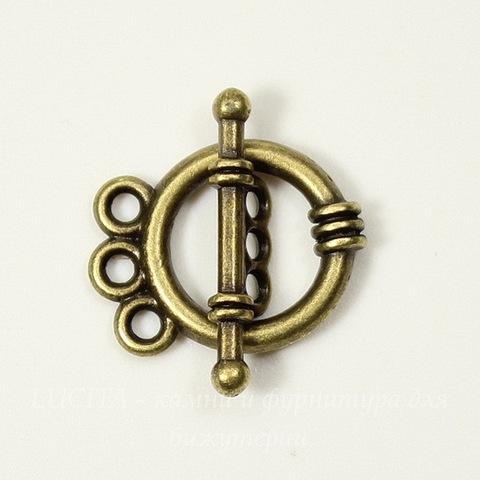 "Замок - тоггл из 2х частей ""Кольцо"" на 3 нити 18х14 мм, 20х6 мм (цвет - античная бронза)"