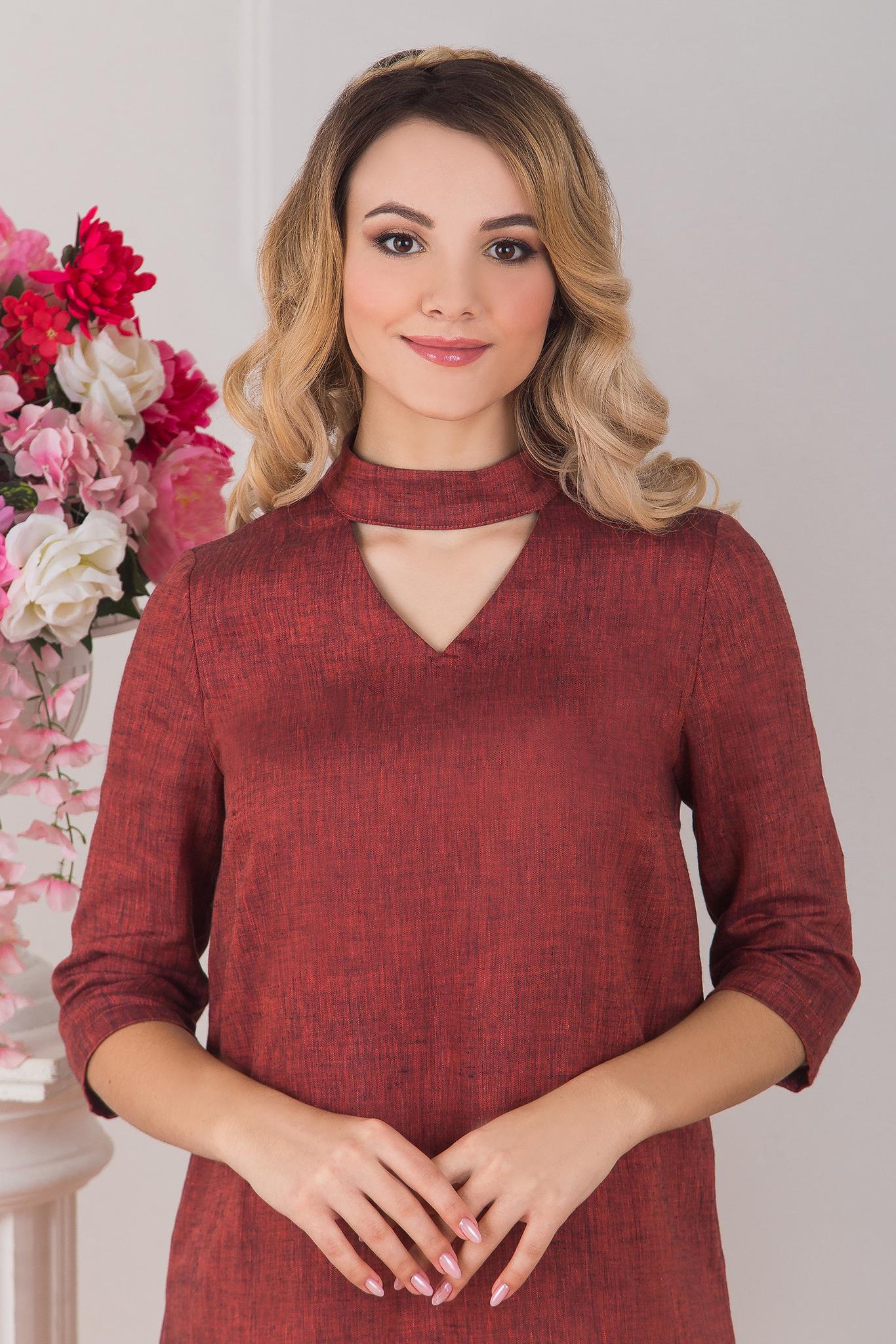 Платье льняное Красный меланж приближенный фрагмент