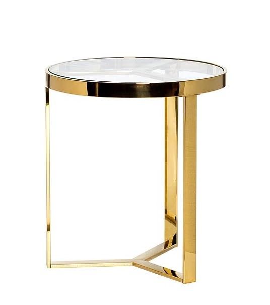 Стол журнальный 47ED-ET031GOLD прозр.стекло/золото d.50*55см