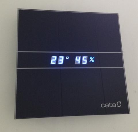 Накладной вентилятор Cata E 100 GTH Bk Black черный (Влажность, таймер, термометр, дисплей) + обратный клапан