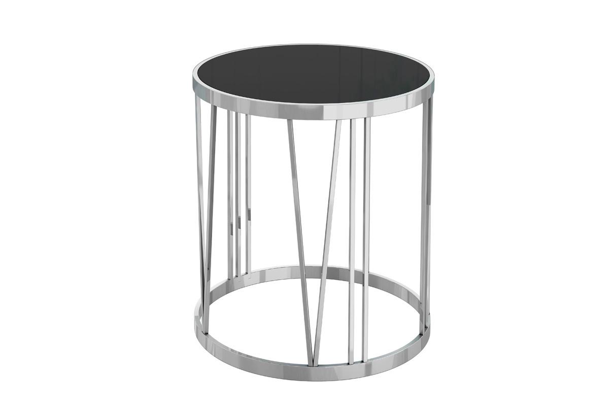 GY-ET7738 Стол журнальный черное стекло/хром d50*55см