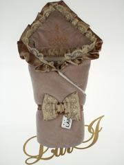 Зимний набор на выписку из роддома Очарование - 3 предмета (молочный шоколад)