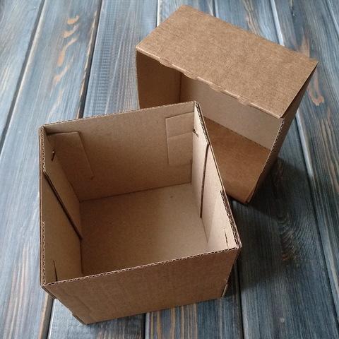 Коробка мгк КУБИК С КРЫШКОЙ (100*100*100мм) коричневая
