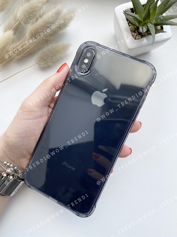 Чехол iPhone  XS Max Simple angle silicone /transparent black/ 443