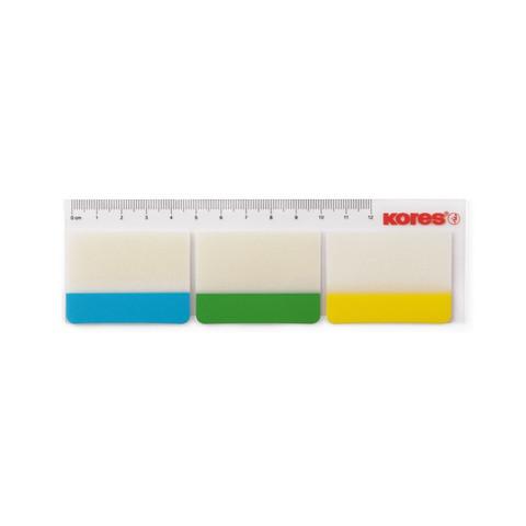 Клейкие закладки Kores пластиковые 3 цвета по 10 листов 37х50 мм на линейке