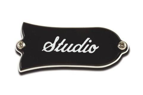 GIBSON Truss Rod Cover, Studio Black крышка анкера с надписью