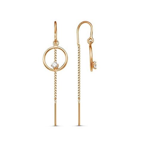 Серьги-протяжки с кольцом и цепочкой , цвет золото