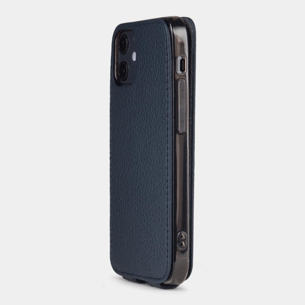 Чехол для iPhone 12 Mini из натуральной кожи теленка, цвета синий мат