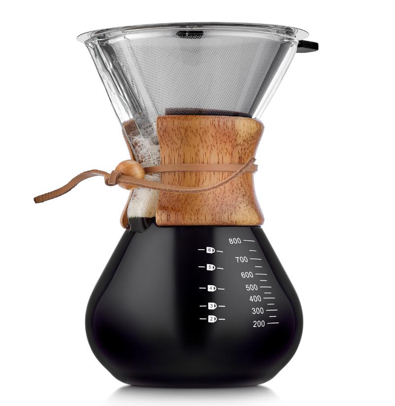 Кофеварки Кемекс, кофейники, френч пресс (Chemex) Кофеварка Кемекс (Chemex) с бамбуковой манжетой и фильтром, 800 мл 5-006-800.PNG