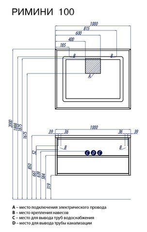 Мебель для ванной Акватон Римини 100, белая, 99,7*х50з44,5см. схема